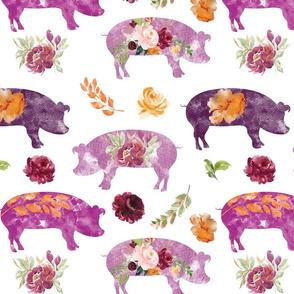 pink purple floral piggies