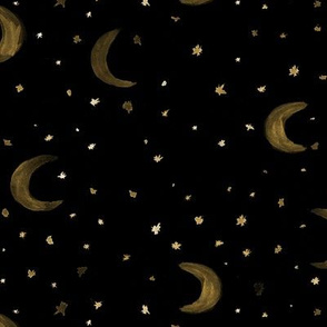 Stars and moons in gold • watercolor night sky for nursery
