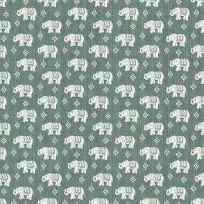 Sharavathi Elephants - Green Earth - Smaller Scale