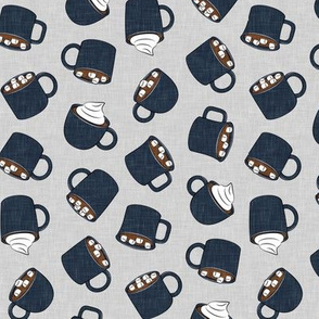 hot cocoa - hot chocolate - blue  on grey - LAD19