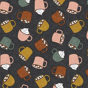 hot cocoa - hot chocolate - rose, green on grey - LAD19