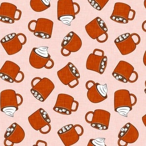 hot cocoa - hot chocolate - rust on pink - LAD19