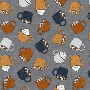hot cocoa - hot chocolate - fall colors on grey - LAD19