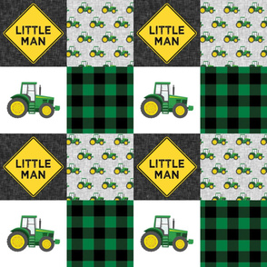 Little Man - Tractors - Green and Black - Plaid - LAD19