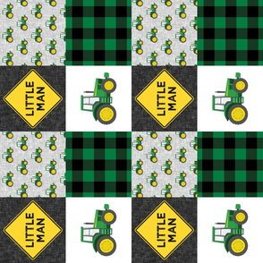 Little Man - Tractors - Green and Black - Plaid (90) - LAD19