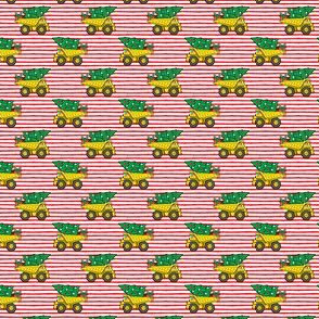 (micro scale) Christmas Tree Dump Trucks (red stripes) - construction tree with gifts - LAD19BS