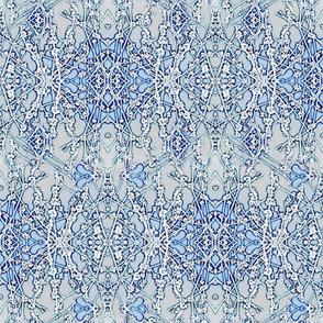 Crystal Blue Snowflakes & Flowers