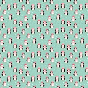 (micro scale) cute winter penguins - pink and mint - LAD19BS