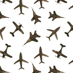 Earthy airplanes • watercolor natural planes