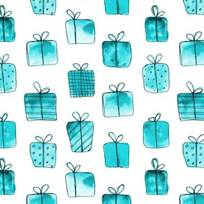 Emerald gift boxes •watercolor christmas pattern