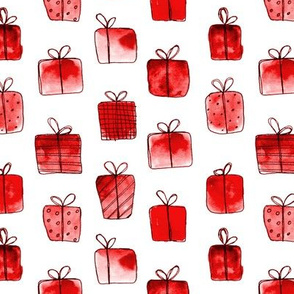 Red gift boxes • watercolor christmas pattern