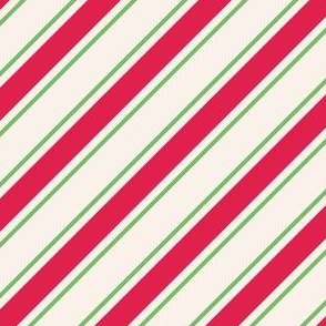 Red and green stripes on white