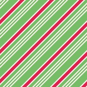 Green, red and white candy cane stripes