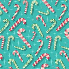Scattered candy canes