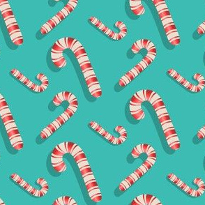 Candy cane scatter on blue