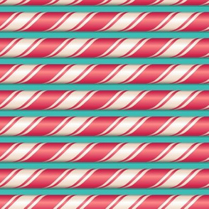 Candy cane stripes on blue