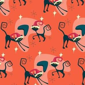 Mid century christmas cat boomerang design
