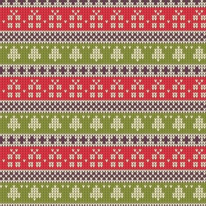 Ugly Sweater Knit—Trees and presents stripes- Light red and green