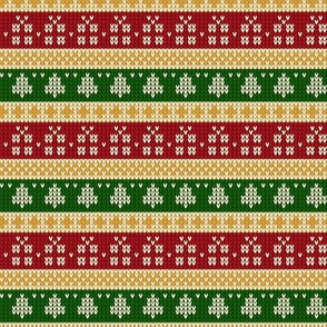 Ugly Sweater Knit—Trees and presents stripes- Dark red and green