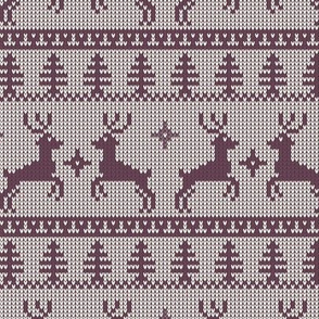 Ugly Sweater Knit—Reindeer duo - Purple on light background