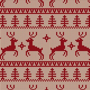 Ugly Sweater Knit—Reindeer duo - Red on light background