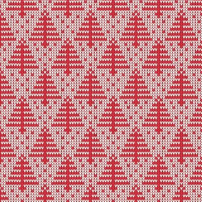 Ugly Sweater Knit—Trees-Red with with light background