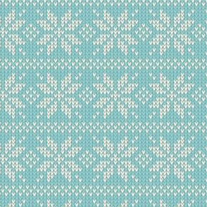 Ugly Sweater Knit—Snowflake stripes - Blue
