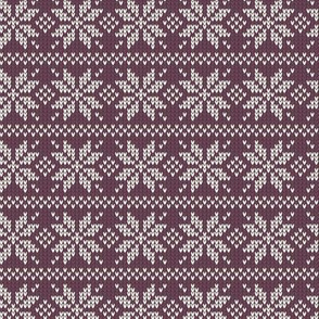 Ugly Sweater Knit—Snowflake stripes - Purple