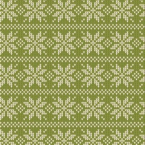 Ugly Sweater Knit—Snowflake stripes - Light green