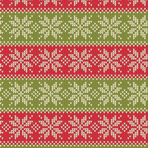 Ugly Sweater Knit—Snowflake stripes - Light red and green