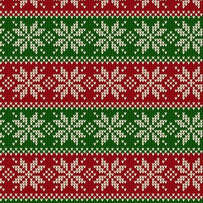 Ugly Sweater Knit—Snowflake stripes - Dark red and green