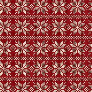 Ugly Sweater Knit—Snowflake stripes - Dark red