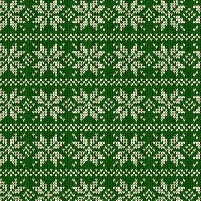 Ugly Sweater Knit—Snowflake stripes - Dark green