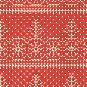Ugly Sweater Knit—Trees and snow - Light red