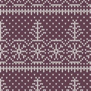 Ugly Sweater Knit—Trees and snow - Purple