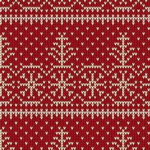 Ugly Sweater Knit—Trees and snow - Dark red