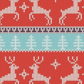 Ugly Sweater Knit—Reindeer duo - Light red and blue