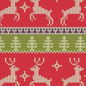 Ugly Sweater Knit—Reindeer duo - Light Red and green