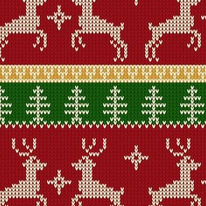 Ugly Sweater Knit—Reindeer duo - Dark red and green