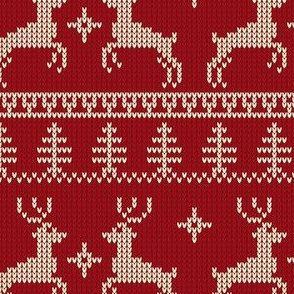 Ugly Sweater Knit—Reindeer duo - Dark red
