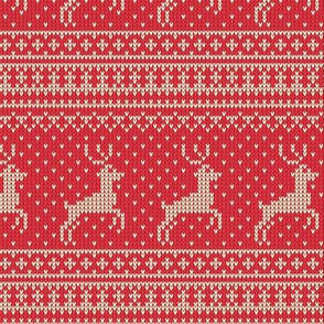 Ugly Sweater Knit—Reindeer-Light Red