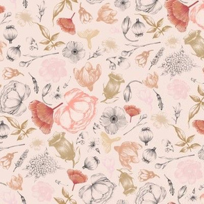 flowers vintage blush