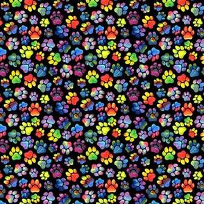 Rainbow Pawprints on Black - Small
