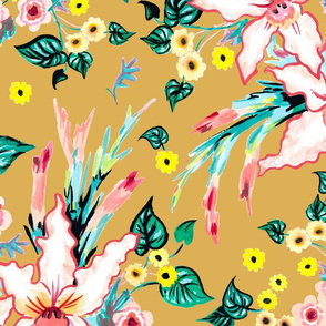 Lilies and black eyed susan floral tropical summer on a mustard yellow background