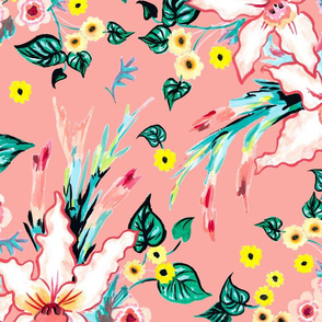 Lilies and black eyed susan floral tropical summer on a coral background