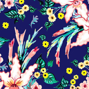 Lilies and black eyed susan floral tropical summer on a royal blue background