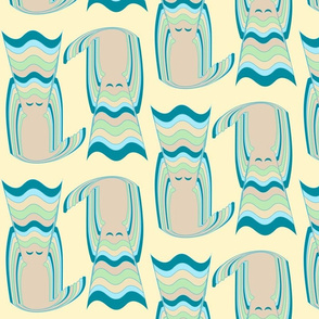 Stacked Cats - Teal & Blue
