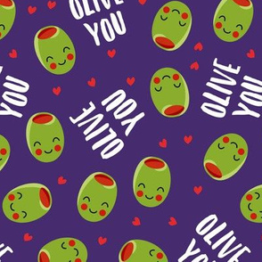 olive you - cute Valentine's Day love olives - purple - LAD19