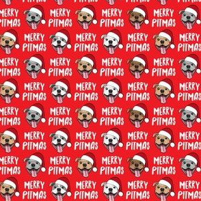 Merry Pitmas - pit bull Santa hats - pitties - red - Christmas dogs - LAD19BS