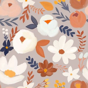 Earth Tones Floral on Soft Gray
